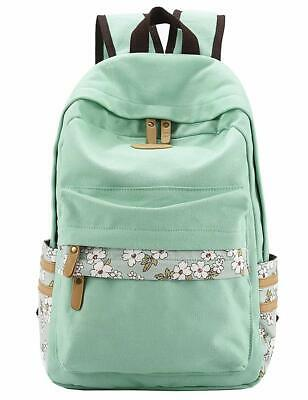 577b3b6dafa3 Mygreen Casual Style Canvas Backpack School Bag Travel Daypack Light Green
