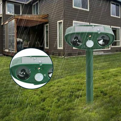 LED Solar Power Animal Repeller Outdoor Pest Repellent Waterproof Garden Cat Dog