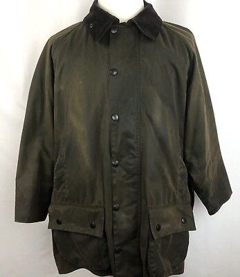 Barbour Men's XL Jacket Olive Waxed Cotton Tartan Lining