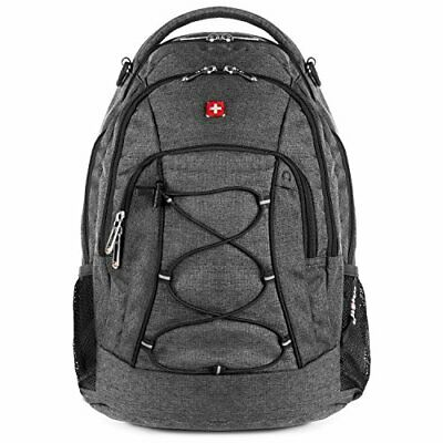 bb5f45113f35 SwissGear Travel Gear Lightweight Bungee Backpack (Heather Grey) - for  School.