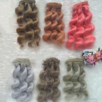 15cm LONG DIY Colorful Ombre Curly Wave Doll Wigs Synthetic Head Hair Dolls best