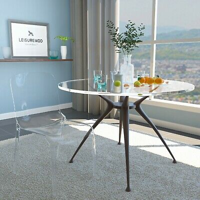 LeisureMod Murray Mid-Century Molded Stackable Lucite Dining Side Chair in Clear