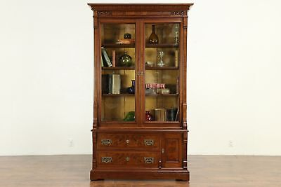 Victorian Eastlake Antique Walnut Library Bookcase, Wavy Glass #30227