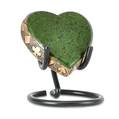 Small/Keepsake 3 Cubic Inch Green Heart on Stand Brass Cremation Urn for Ashes