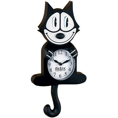 NEW Authentic Cartoon Collectible Felix The Cat Wall Clock w/ Moving Eyes & Tail