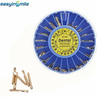 Easyinsmile1 Box /120pc Assorted Dental Screw Posts Kits Refills 24K Gold Plated