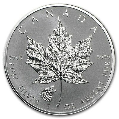 2016 Maple Leaf Reverse Proof 1oz .9999 Silver. Wolf Privy. Only 50k Minted