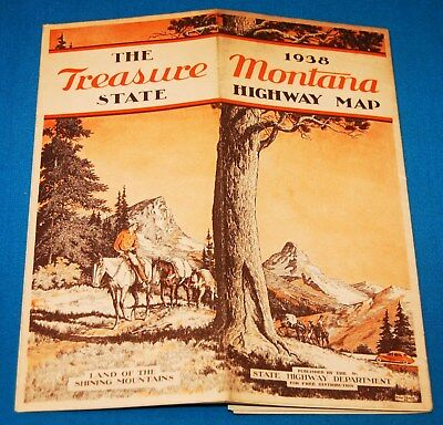 """1938 Montana State Highway Map - """"land Of The Shining Mountains"""""""