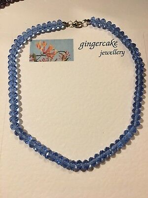 """LOVELY QUALITY FACETED LIGHT BLUE GLASS BEAD NECKLACE 16"""" 40CM 8X6mm ABACUS"""