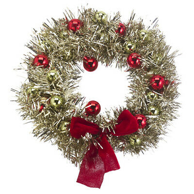 "Gold Christmas WREATH Red Ball Ornaments 12"" Classic Sparkling Decor"