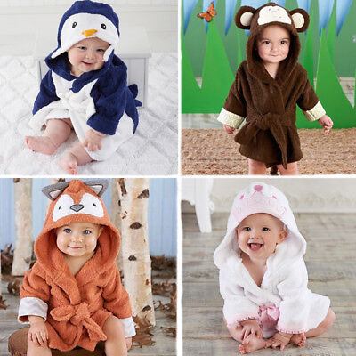Newborn Boys Girls Animal Bathrobe Infant Bathing Blanket Baby Hooded Bath Towel