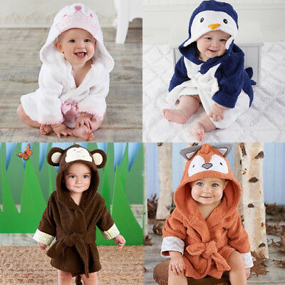US Cute Animal Baby Bath Towel Coral Fleece Blanket Infant Hooded Wrap Bathrobe