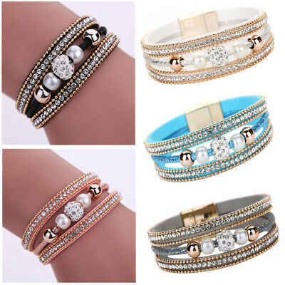 Women Multilayer Bangle Bracelet Crystal Beaded Leather Magnetic Wristband Gifts