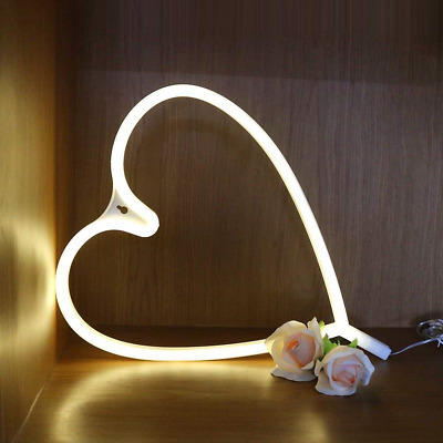 Heart Light Neon Signs - XIYUNTE LED Heart Lights Wall Lamp Room Decor, Battery