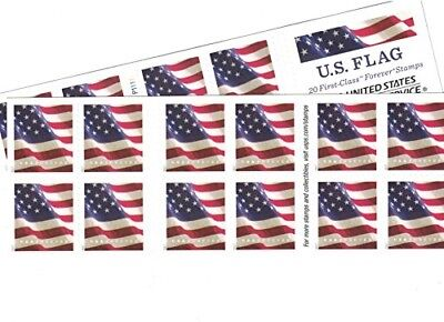 USPS US Flag Forever Stamps - 40 Stamps (Two Books of 20) Packaging May Vary