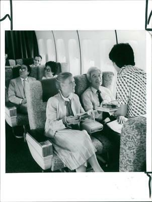 Interior shot of first class cabin on Cathay Pacific Boeing 747 - Vintage photo