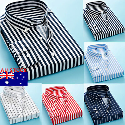 AU Men's Slim Fit Long Sleeve Shirt Casual Tee Tops Business Formal T Shirts