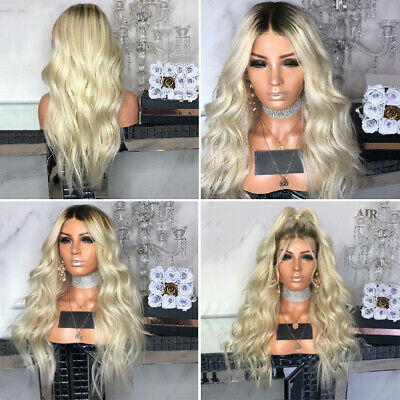 Fashion Party Blonde Lace Front Wig Synthetic Ombre Long Wavy Natural Wigs CHZ