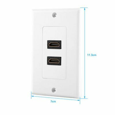 Twin White HDMI Lead Wall Plate Full 1080 TV Cable Faceplate Socket Connector