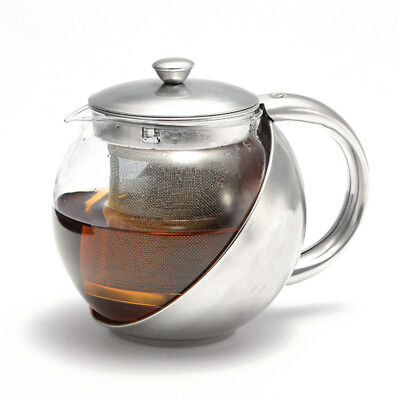 750ml Modern Stainless Steel & Glass Teapot Loose Tea Leaf Infuser Pot w/ Filter