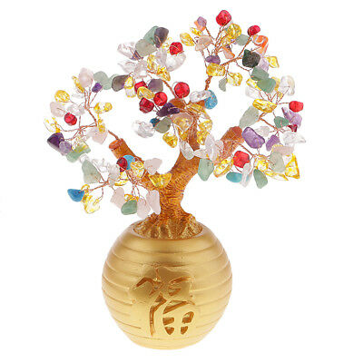 Money Wealth Bag Feng Shui Lucky Tree Natural Colorful Crystal Tree