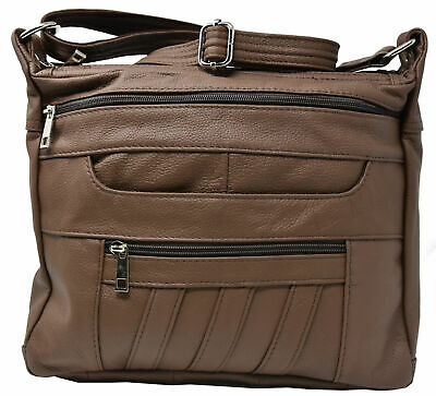 10cb879cfb82 BROWN CROSSBODY LEATHER Locking Concealment Purse CCW Concealed Carry Gun  Bag