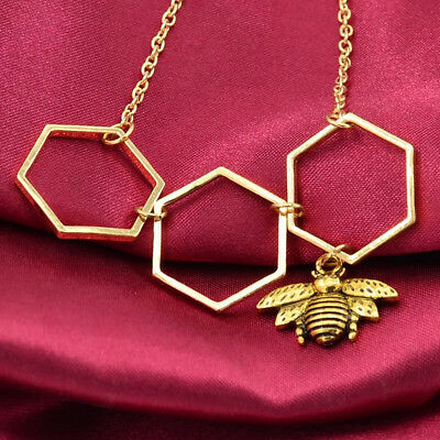Cute Simple Honeycomb Beehive Hive Bee Honey Bee Necklace For Women Gift 8C