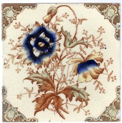 Corn Bros - c1895 - Blue Natural Flowers - Antique Victorian Hand-Tinted Tile