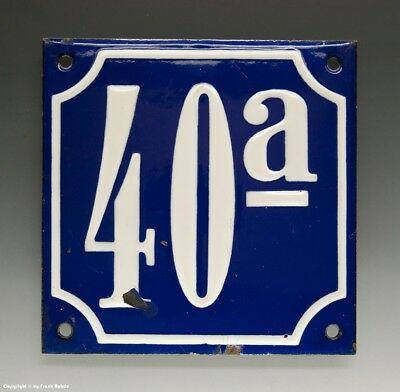 ALTE EMAIL EMAILLE HAUSNUMMER 40a in BLAU/WEISS um 1935...12 x 12 cm