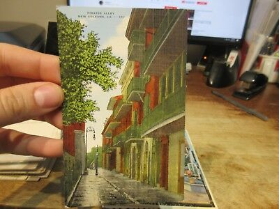 Vintage Old Postcard LOUISIANA New Orleans French Quarter Pirates Alley Balcony