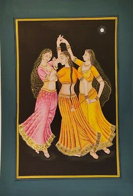 """Indian Handmade Miniature Womans Dancing Paper Painting Wall Decor 20""""x14"""""""
