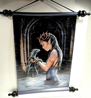 Gothic Water Dragon Wall Scroll Tapestry by Anne Stokes 2010