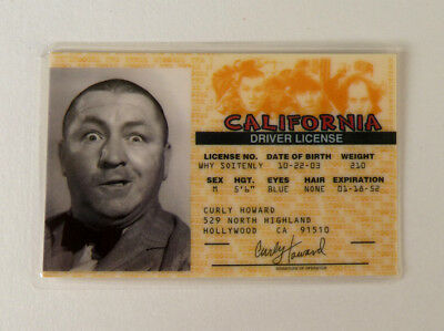 Rare Vintage Laminated Curly Howard The Three Stooges California Driver License