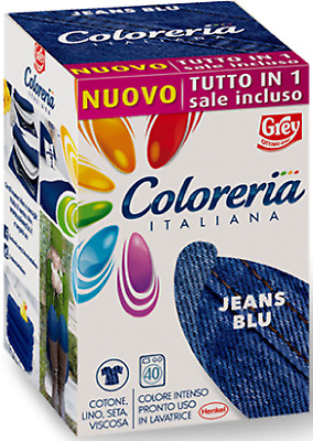 Coloreria Italiana Grey - Colorante Per Tessuti ** Jeans Blu ** Nuovo Tutto In 1
