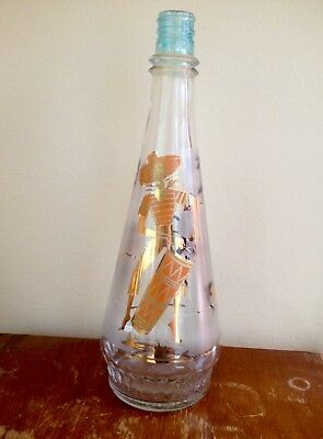 Vintage 1950's Caribbean Calypso Mid Century Kitsch Frosted Liquor Carafe Decant