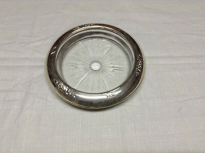 Frank M Whiting & Co Sterling Silver and Glass Ashtray/Coaster/Candy Dish