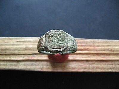 Bird Ancient Celtic Magic Engraved Bronze Finger Ring 300-100 B.c.