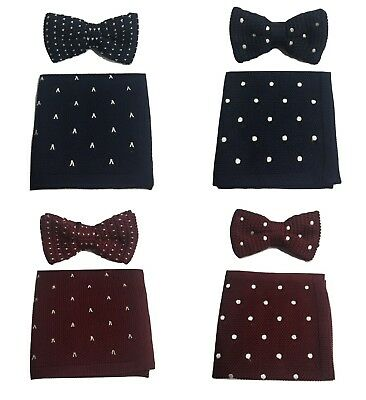 Men Knitted Knit Bow tie + Pocket Square Hanky set polka dot heart wine red navy