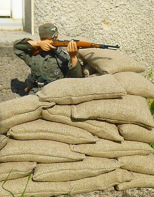 "10 sacs de sable 10x5,5x2,5cm 100g lot 1/6 12"" soldat figure décor sandbags jute"