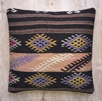 Decorative handmade pillow cover cushion from handwoven vintage kilim rug, 16x16