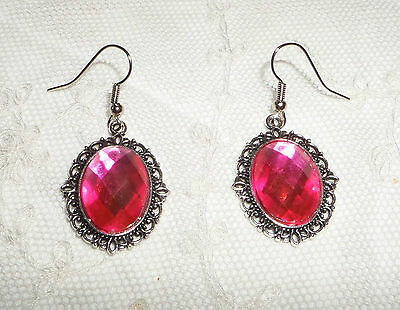 Victorian Style Hot Pink Acrylic Crystal Filigree Dk Silver Plated Earrings Snv