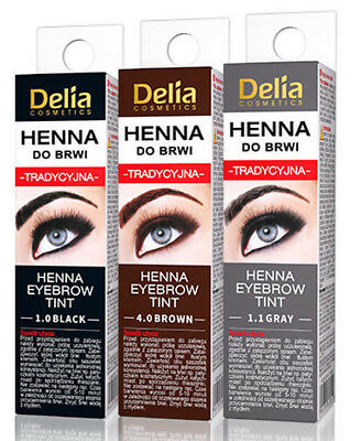 Delia Henna Eyebrow Eyelashes Tint  BLACK BROWN GRAPHITE 2G FAST DELIVERY