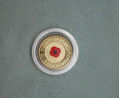 2012 $2 coin REMEMBRANCE RED POPPY in capsule unc
