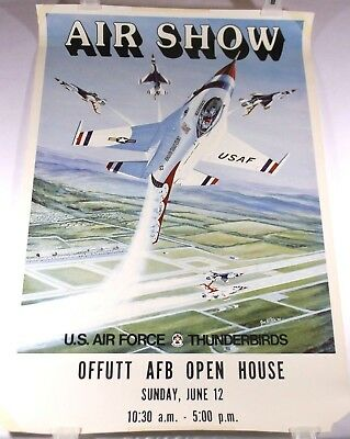 Vintage U.S. Air Force Thunderbirds Offutt AFB Open House Air Show Poster