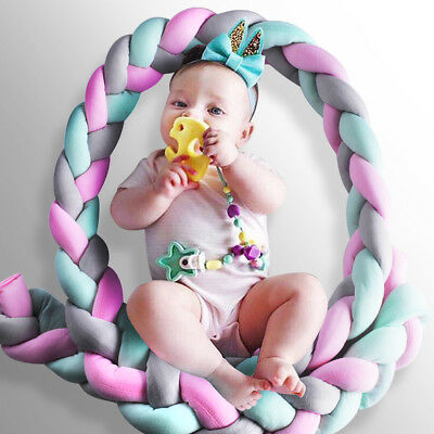 Infant Baby Plush Bumper Bed Bedding Crib Cot Braid Pillow Cushion Protector