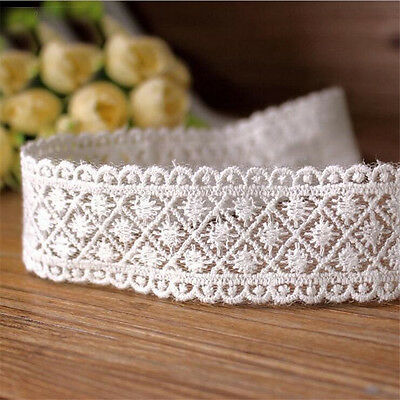 Embroidered Cotton Mesh Lace Edge Trim Ribbon Applique White Sewing Crafts DIY