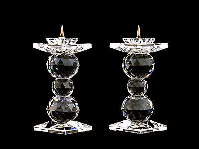 """Pair of Swarovski Crystal 3 1/2"""" Pin Candle Holders Candlesticks"""