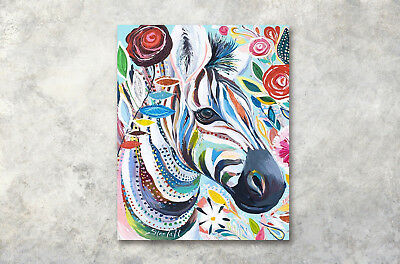 "Framed 16x20"" Hand Painted Colored Zebra Abstract Art Wall Decor Painting Canvas"