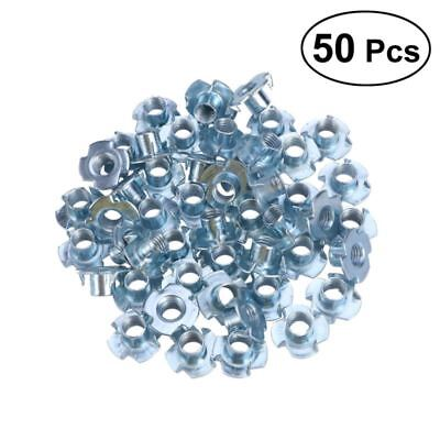 50pc Stainless Steel Four Pronged T Nuts Inserts Supplies for M3/M4/M5/M6/M8/M10