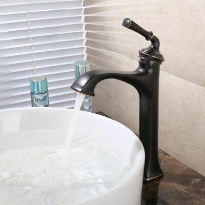 Classic Vintage Style Single Hole Solid Brass Tall Bathroom Vessel Sink Faucet